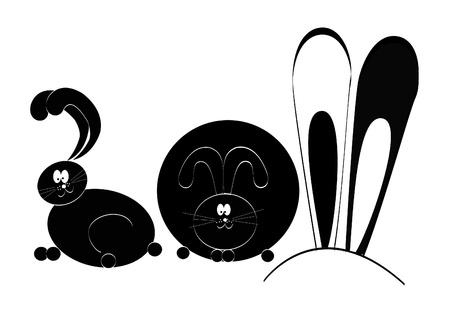 Rabbit silhouette, isolated. Cute animal photo