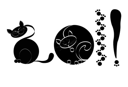 There is a black cat on a white background a close up Stock Vector - 8471626