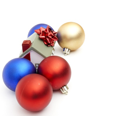 new year home and christmass ball isolated on white photo