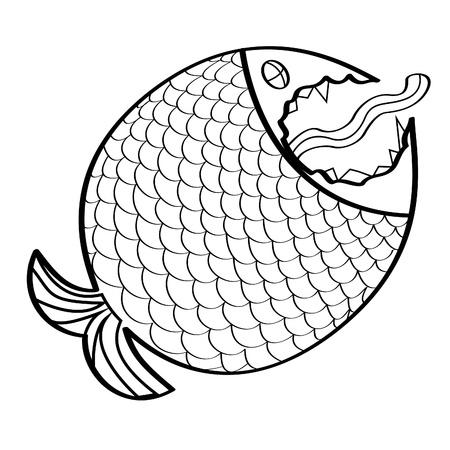 black and white Big fish Vector illustration. Vector