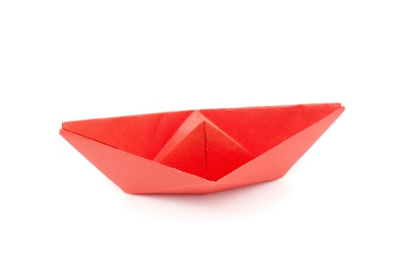 red paper boat isolated on white background Stock Photo