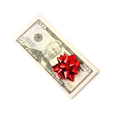 50 Dollar with holidays bow isolated on white photo