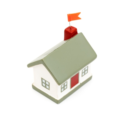 little house with flag isolated on white background Stock Photo - 8539724