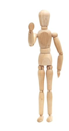 Welcoming wooden mannequin isolated on white background photo