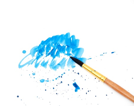 brush with blue paint stroke and stick, isolated on white Stock Photo - 8539923