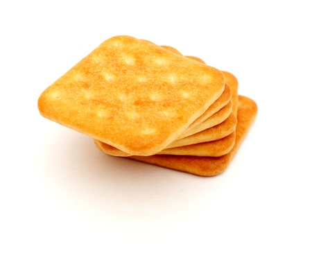 graham: Stack of graham crackers over white. food snack wheat
