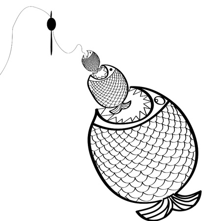 black and white Big fish Vector illustration. Vector