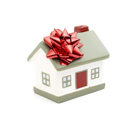 housewarming: House gift for you isolated on white