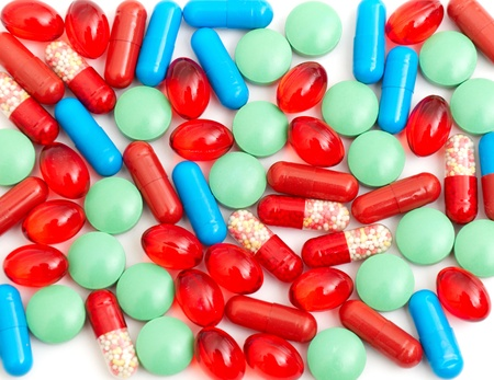 Colorful tablets with capsules health-care abstract background Stock Photo - 8569082