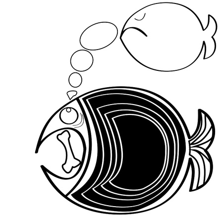 black and white Big fish illustration. Vector