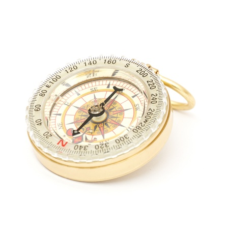 old styled: old styled, gold compass on a white background.