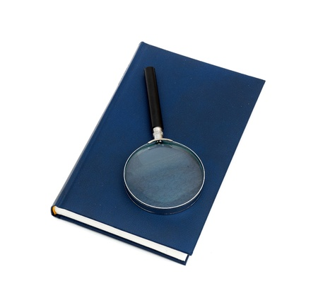 magnifier and book isolated on a white background Stock Photo - 8628582