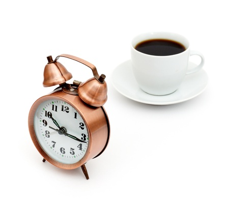 vintage alarm clock and white coffee cup isolated on white Stock Photo - 8628753