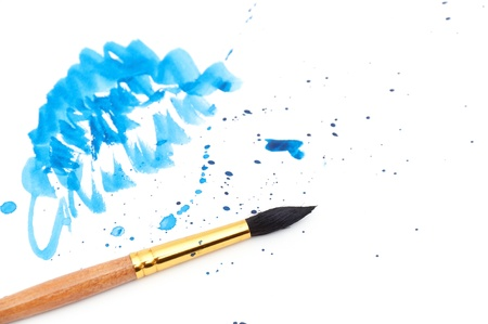 brush with blue paint stroke Stock Photo - 8814242