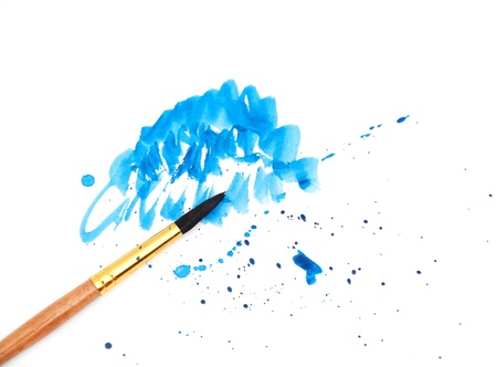 brush with blue paint stroke photo