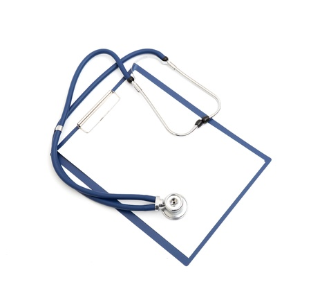 blank clipboard with modern stethoscope isolated on white Stock Photo - 8818815
