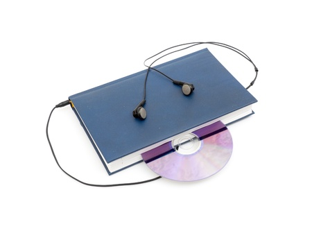 headphones and books (audio book concept) isolated photo