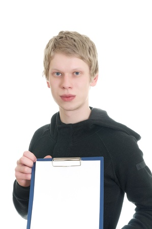 charisma: a young man holds a clipboard isolated on white