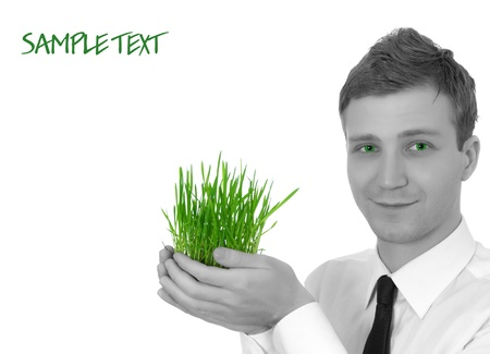 man holding a small plant Stock Photo - 8814363