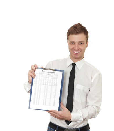 a young man holds a clipboard Stock Photo - 8814368