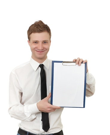 a young man holds a clipboard isolated on white Stock Photo - 8918182