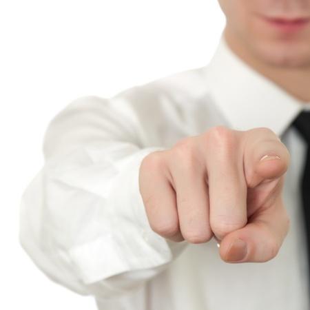 白で隔離される若い男ポインティング指