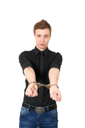 Man in handcuffs isolated on white background Stock Photo - 8918242