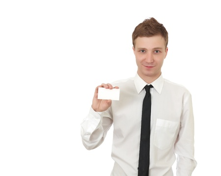 Man holding a card isolated on white background Stock Photo