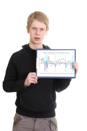 mnemonic: young man holds a clipboard isolated on white