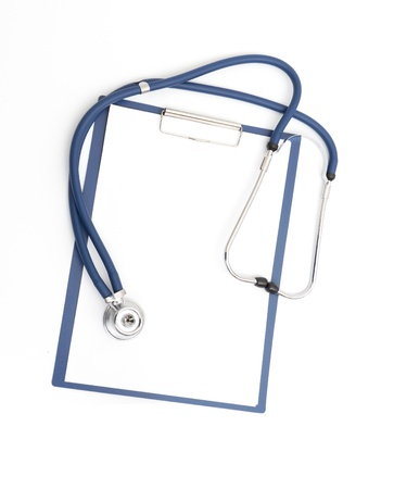 blank clipboard with modern stethoscope on white background Stock Photo - 9050269