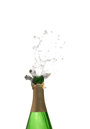 Bottle of champagne with splashes over white background Stock Photo - 9050196
