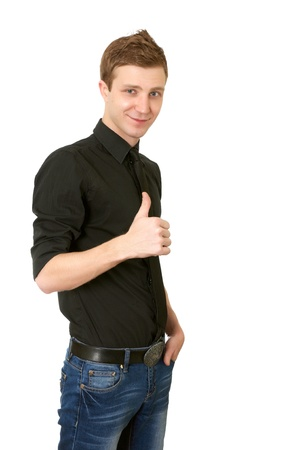Happy casual young man showing thumb up on white background Stock Photo - 9113989