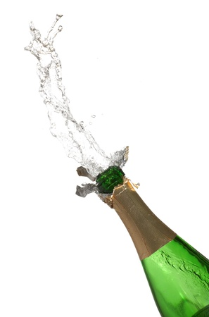 Bottle of champagne with splashes over white background Stock Photo - 9114785