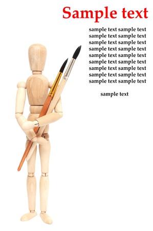 wood figurine: El arte de objetos pinceles y mu�eca en blanco