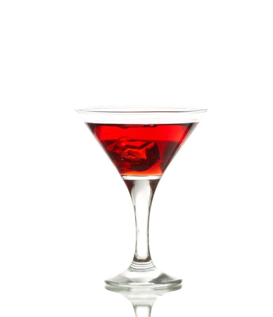 Red martini cocktail with ice cubes isolated on white Stock Photo - 9114700