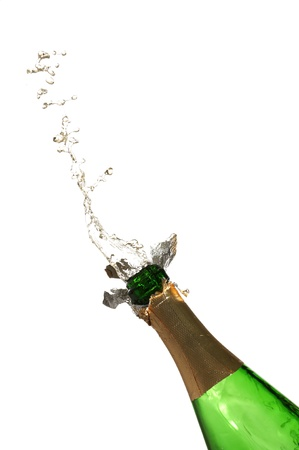 Bottle of champagne with splashes over white background Stock Photo - 9114710