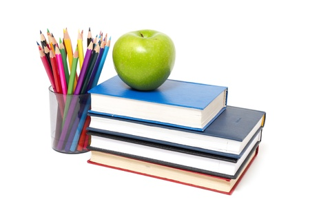 food research: apple, books and colored pencil, back to school concept Stock Photo