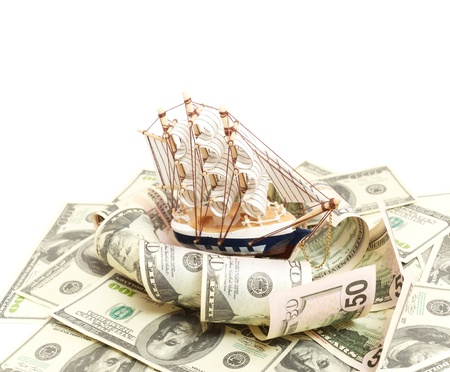ship and wave from money, Business concept Stock Photo