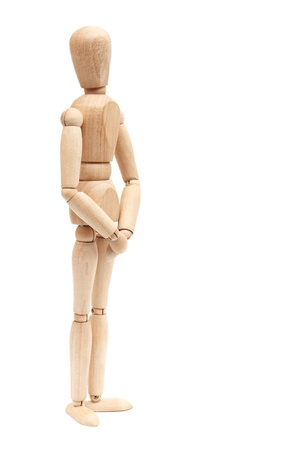 Wooden figure, isolated on a white background
