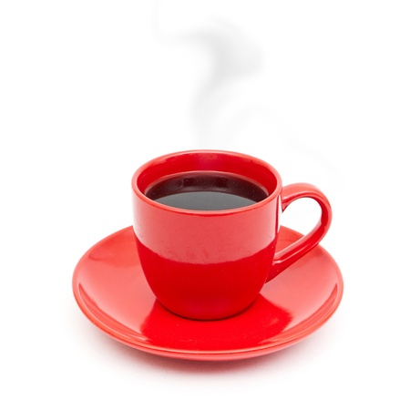 red taste: cup of black coffee white background red mug