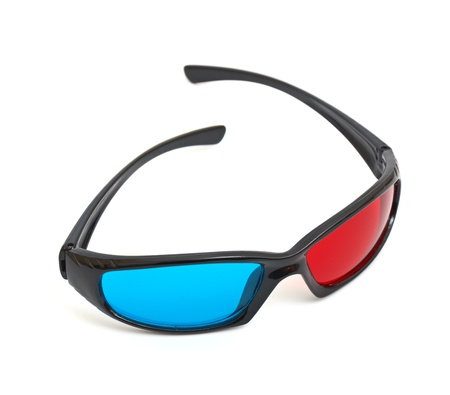 one pair of 3D glasses isolated in white photo
