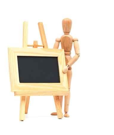 Wooden concept of mannequin in pose with wood frame Stock Photo - 9989929
