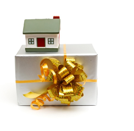 housewarming: House as a gift for you isolated on white Stock Photo