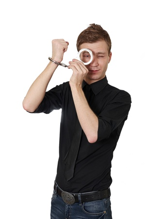 entrap: Man in handcuffs isolated on white background