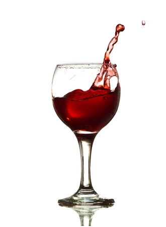 glass of bowl: Red Wine Abstract Splashing isolated on white Stock Photo