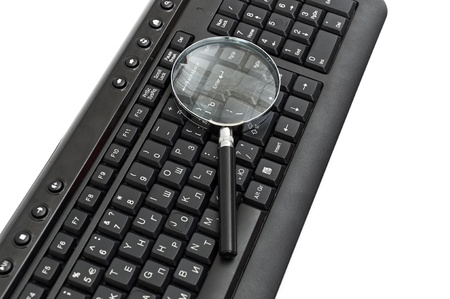 Magnifying glass, concept of on line security and investigation photo