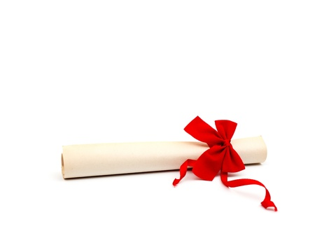 baccalaureate: Diploma with red ribbon isolated on white background