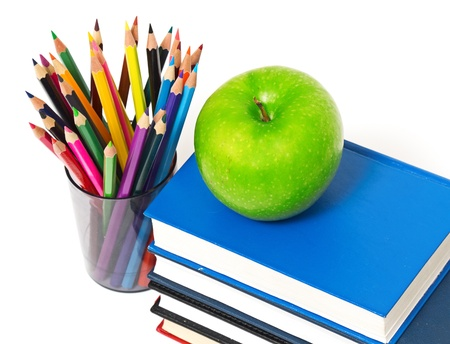 books and an apple back to school concept photo