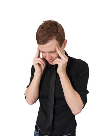 throb: Headache at work isolated on white background Stock Photo