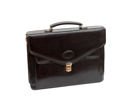 Fashionable leather briefcase on a white background Stock Photo